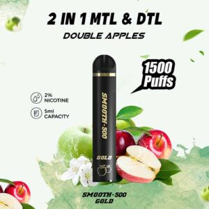 Smooth-500 Gold – Double Apple (1500 MTL Puffs – 1 Pc Pack)