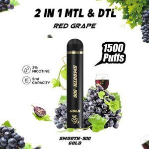 Smooth-500 Gold – Red Grapes (1500 MTL Puffs – 1 Pc Pack)